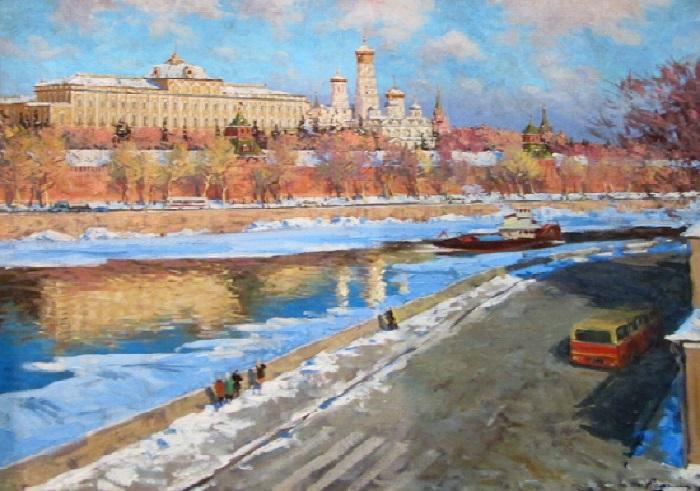 На Москве-реке. Весна. Холст, масло. Автор: Эдвард Выржиковский.