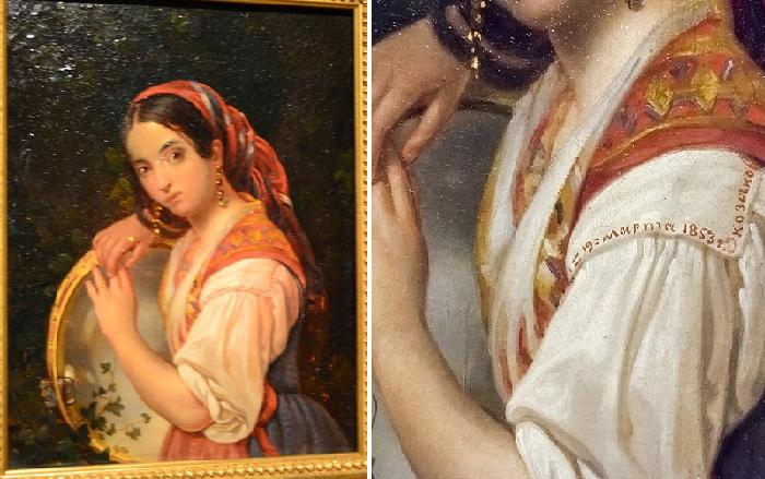 «Девушка с бубном». (1853).Государственная Третьяковская галерея. Автор: Н.М. Козаков.