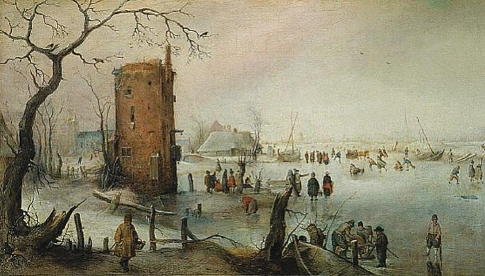 Зимний пейзаж с башней, 1620 год.