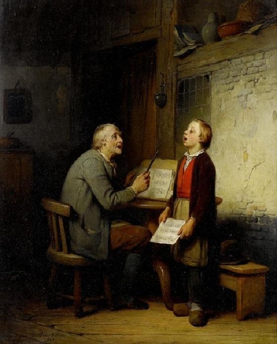 «Урок пения». Автор: Фердинанд де Бракэлер.