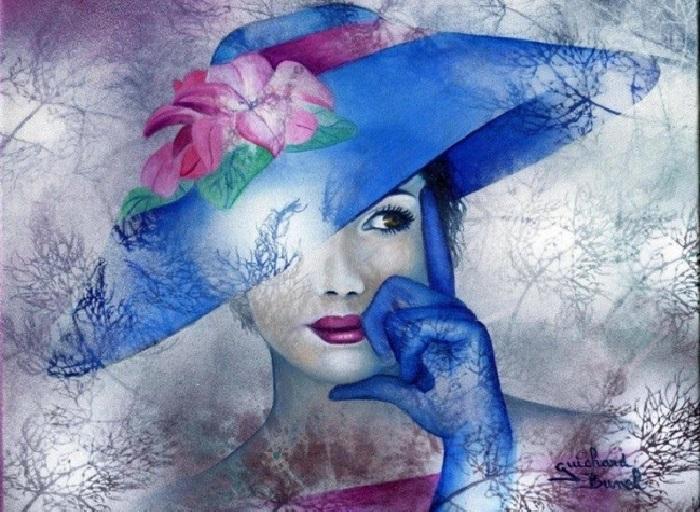 Женщина в синей шляпе. Автор: Jeannette Guichard-Bunel.   Фото: art-veranda.ru.