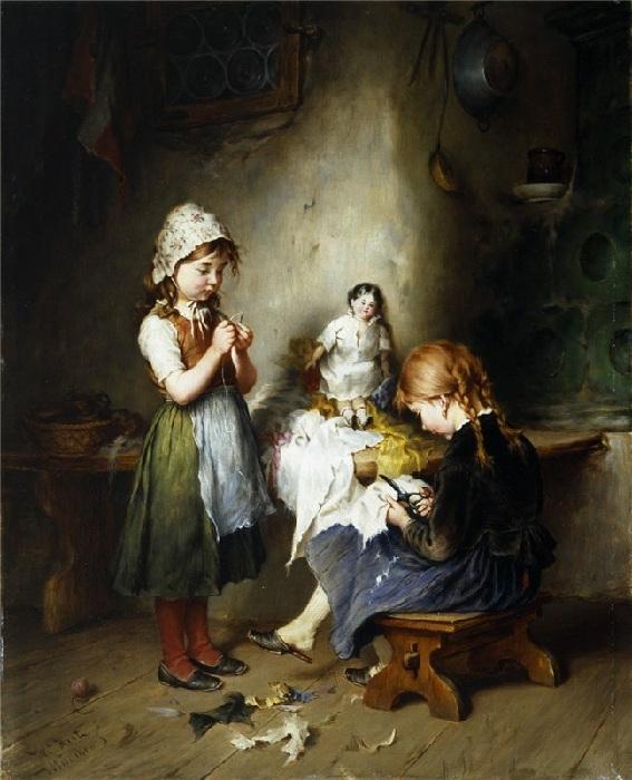 Генрих Хирт. Германия (1841-1902). Юные швеи.