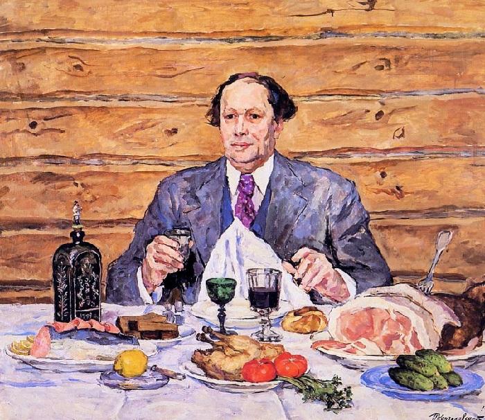 А. Н. Толстой в гостях у художника. 1941 год.  Автор: П. П. Кончаловский.