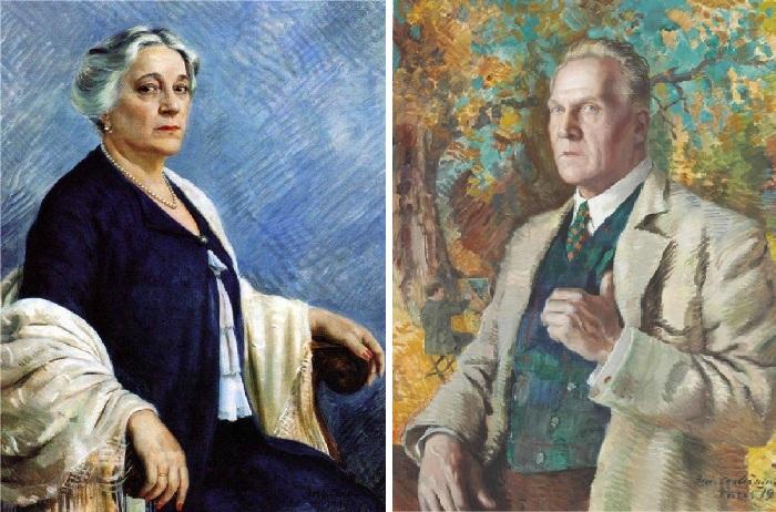 Портрет матери И.И. Шаляпиной-Торнаги. (1934 год). / Потрет отца - Ф.И.Шаляпина.