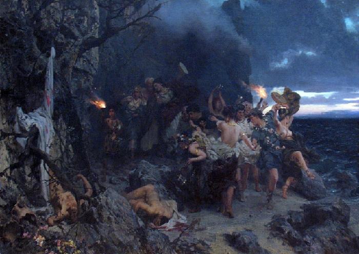 Оргия времён Тиберия на острове Капри. Третьяковская галерея.  Автор: Генрих Семирадский.