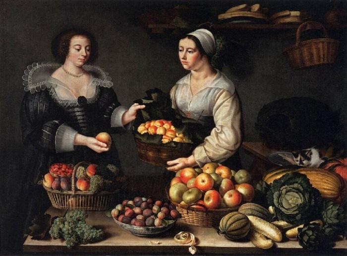 Торговка фруктами и овощами (1630 год.) 120 х 165 Дерево, масло. Париж, Лувр. Автор: Луиза Муайон.