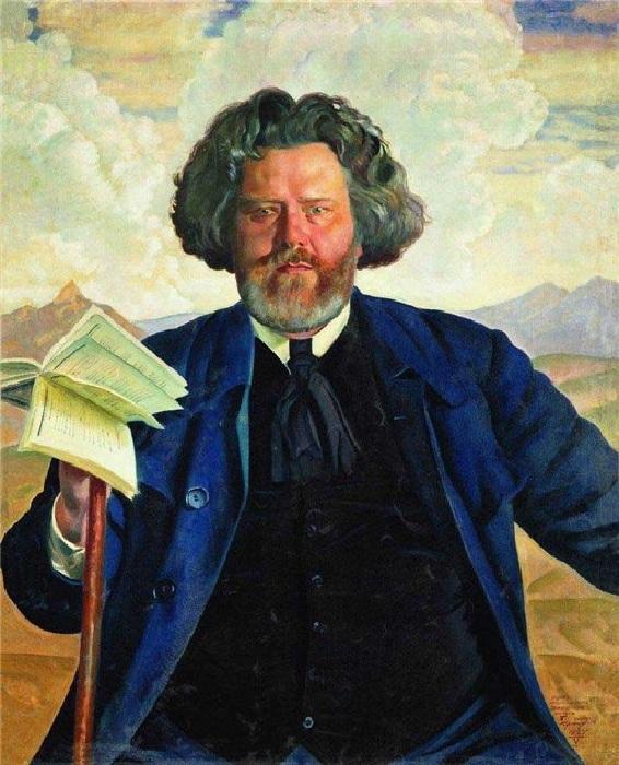 Портрет М.А.Волошина (1924 год). Художник Борис Кустодиев.