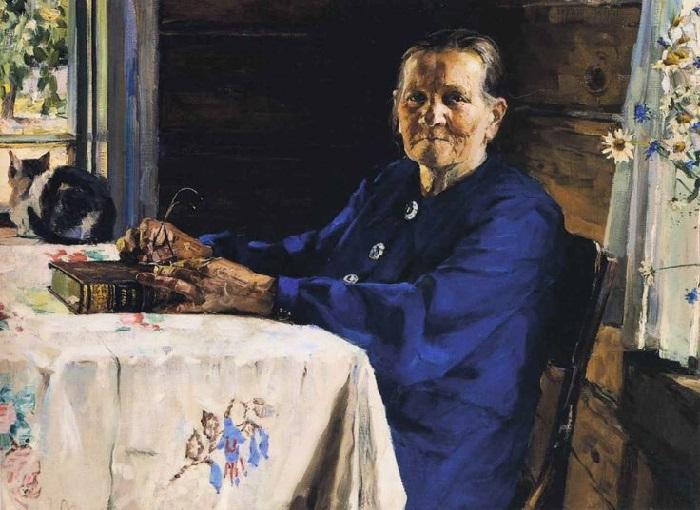 Портрет моей бабушки. 1957. Холст, масло.  Автор: Эдвард Выржиковский.