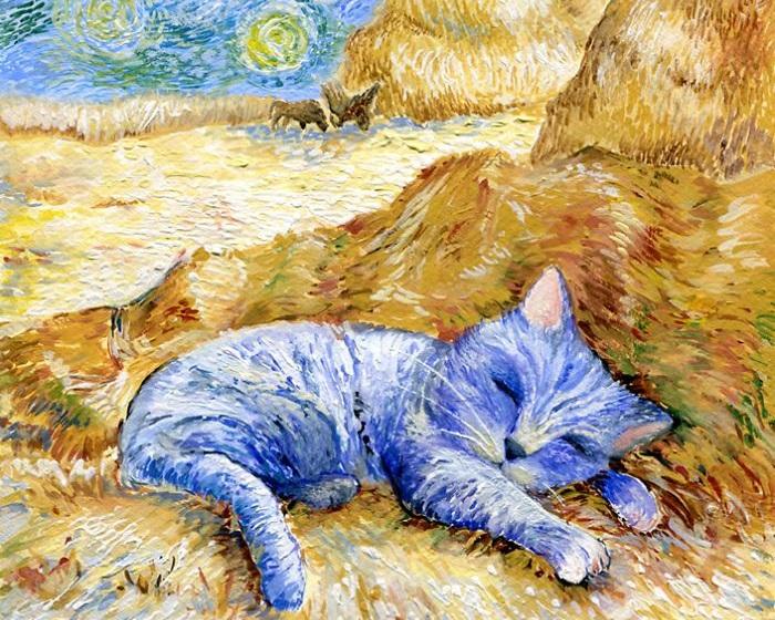 Очаровательные коты на портретах в стиле Ван Гога, Пикассо и других знаменитых