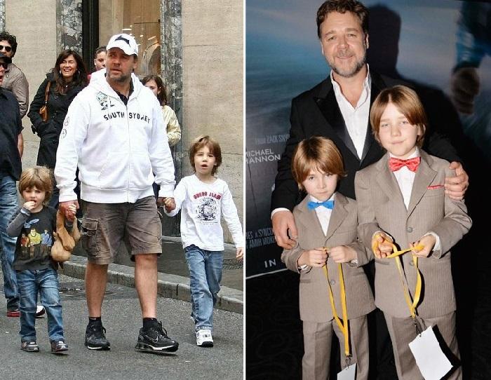 Рассел Кроу с сыновьями.