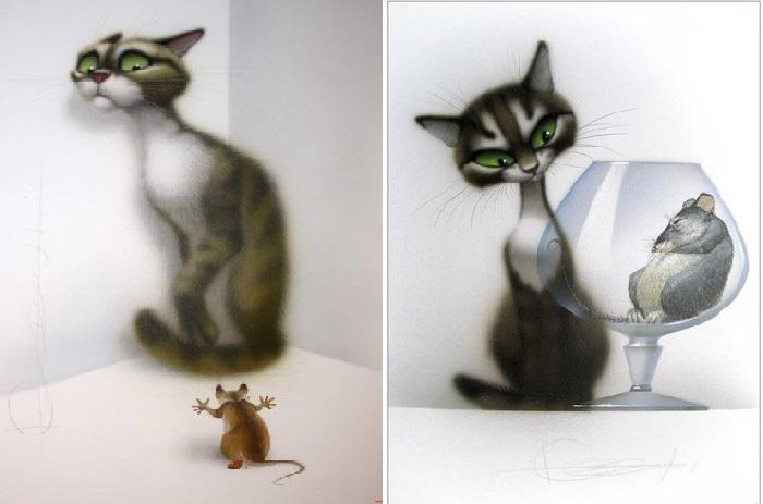 Графический цикл «Коты». Автор: Владимир Стахеев.
