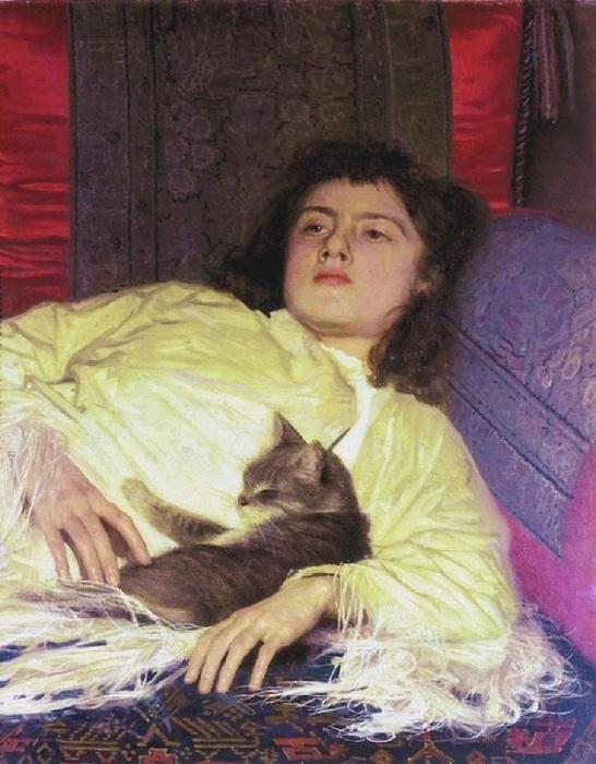 Иван Крамской. Девушка с кошкой (Портрет Софьи Крамской). 1882 год.