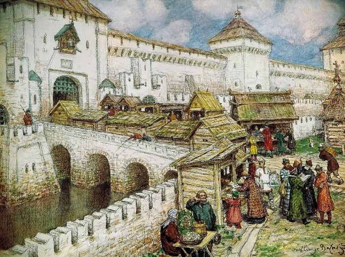 Книжные лавочки на Спасском мосту в XVII веке.(1916г.). Автор: Аполлинарий Васнецов.