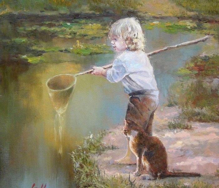 Рыбачек. Из цикла «Мир детства» Инессы Морозовой.
