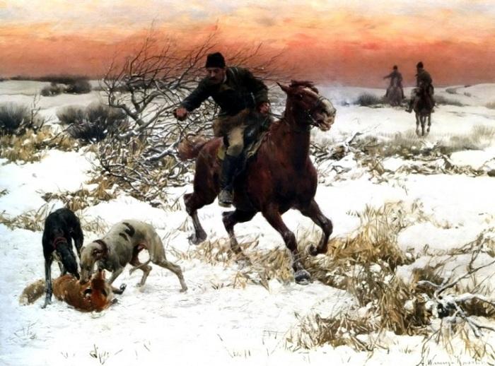 Охотник с гончими. Автор: Альфред Веруш-Ковальски.