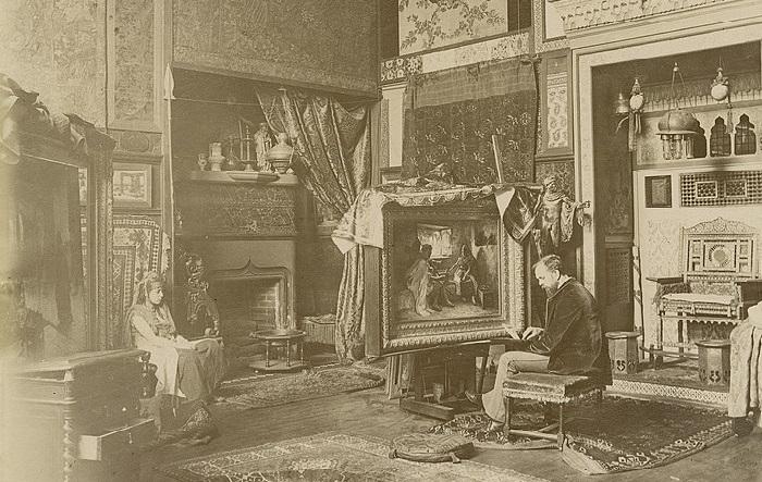 Фредерик Артур Бриджман в своей парижской студии, около 1885, Фредерик Артур Бриджмен.| Фото: ru.wikipedia.org.