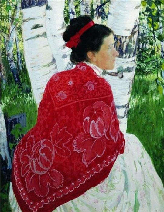 Портрет жены художника 1909 год. Автор: Борис Кустодиев.