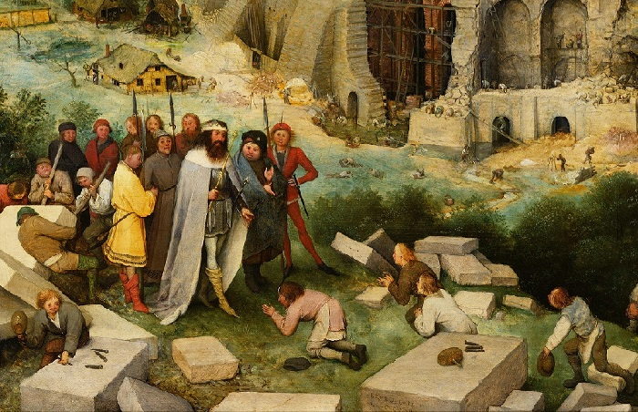 «Вавилонская башня». Фрагмент. Библейский царь Нимрод со свитой посещает строительство башни.
