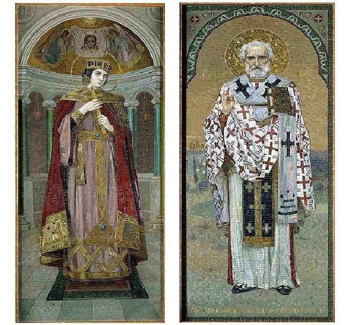Мозаичные панно, созданные по эскизам Н. Бодаревского в храме Спаса на Крови.