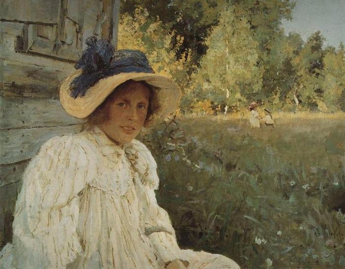 Летом. 1895 года. Портрет Ольги Серовой жены художника. Автор: Валентин Серов.