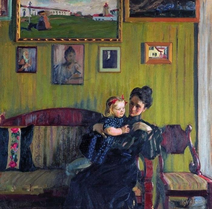 Портрет Ю.Е. Кустодиевой с дочерью Ириной. 1908 год. Автор: Борис Кустодиев.