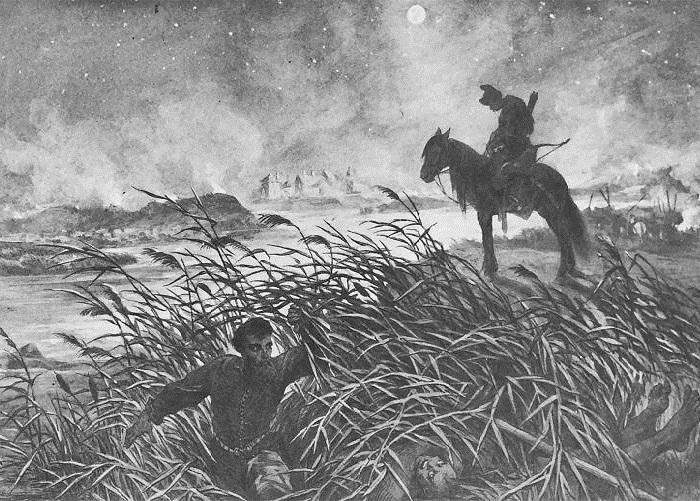 Скшетуский выходит из осаждённого Збаража. Иллюстрации к роману «Огнем и мечом» Юлиуша Коссака.