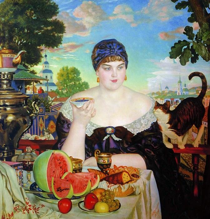 Борис Михайлович Кустодиев. Купчиха за чаем.