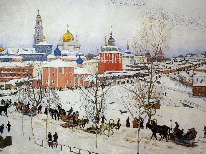 «Троицкая лавра зимой»<br>(1910 год). Автор: Константин Юон.