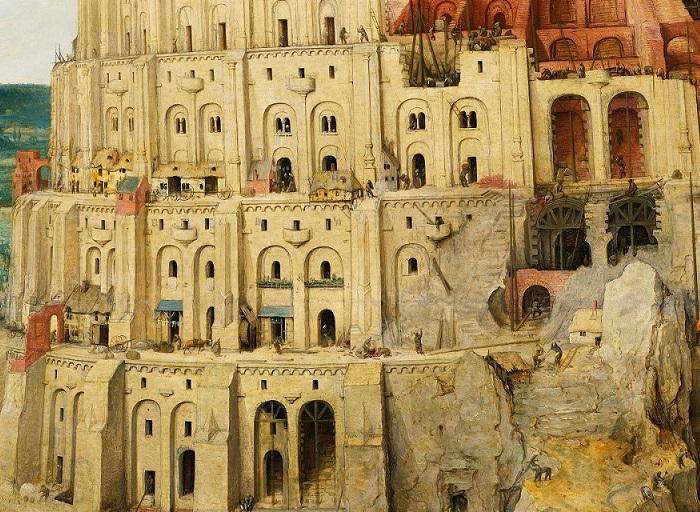«Вавилонская башня». Фрагмент. (Нижние ее этажи уже заселены – в окнах и дверных проемах можно разглядеть ее жителей.)
