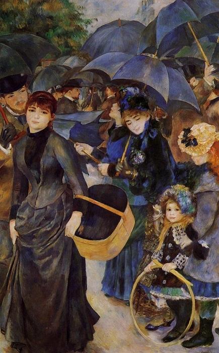 «Зонтики».1881-1886). Национальная галерея. Лондон.  Автор: Огюст Ренуар.