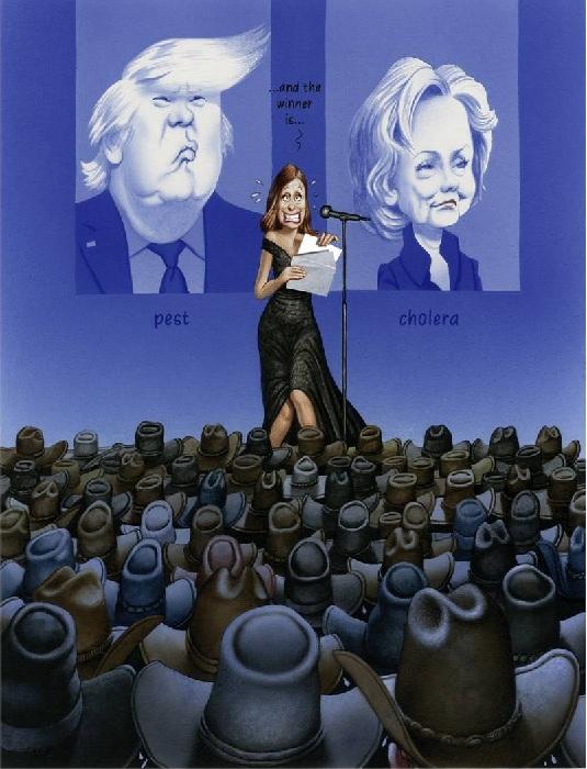 Американские выборы: Чума против Холеры. Сатира от Gerhard Haderer.