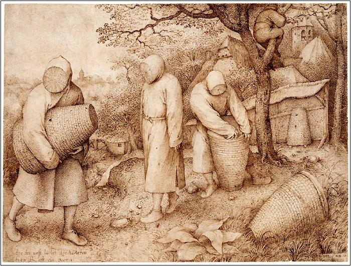 «Пасечник и разоритель гнезд». Около 1568 года. Собрание Государственных музеев, Берлин. Питер Брейгель Старший.<br>