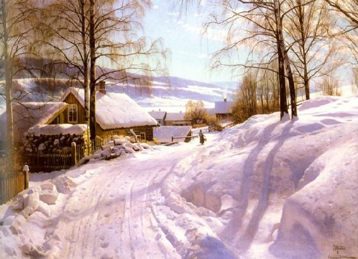 На занесенной снегом дороге. Автор: Педер Мёрк Мёнстед.