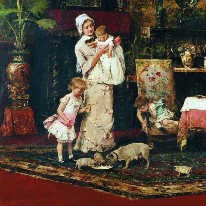 «Две семьи в салоне» (1882год). Фрагмент. Автор: Михай Мункачи.
