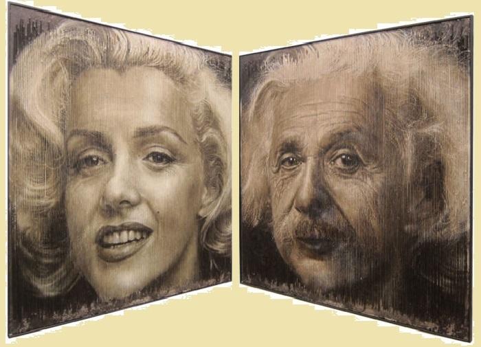 От Мэрилин Монро к Альберту Эйнштейну  - всего лишь несколько шагов. Трехмерные портреты художника Серджи Каденаса. | Фото: realsworld.com.