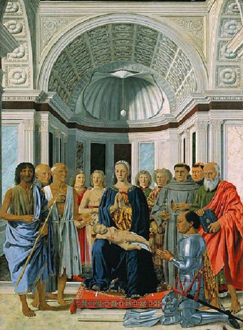 «Мадонна со святыми и герцогом Урбинским» (1472—1474). Милан. Автор: Пьеро делла Франческа .