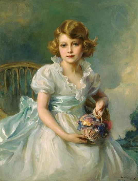 Елизавета II в возрасте 8 лет 1933 год. Автор: Филипп Алексис де Ласло.