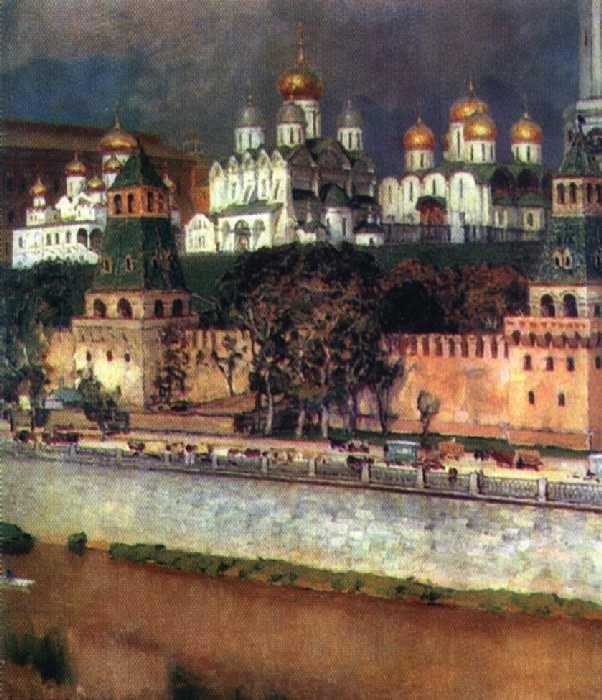«Московский Кремль. Соборы». 1894. Третьяковская галерея. Автор: Аполлинарий Васнецов.