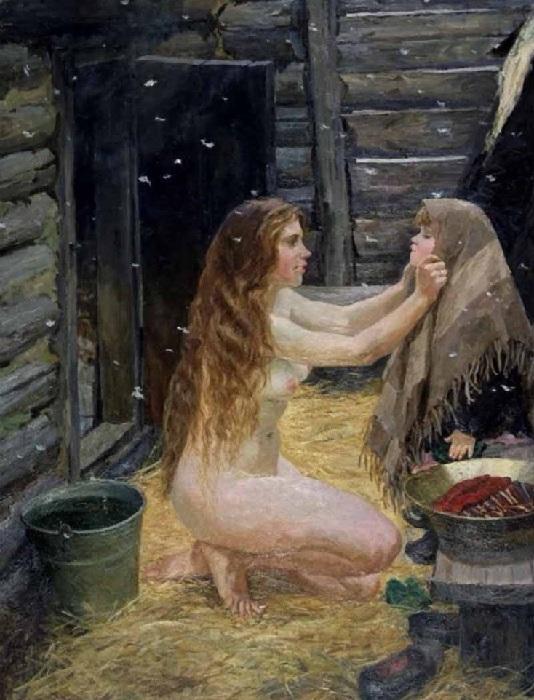 «Весна».(1954 год).Холст, масло. 210 х 123 см. Автор: А.А.Пластов.