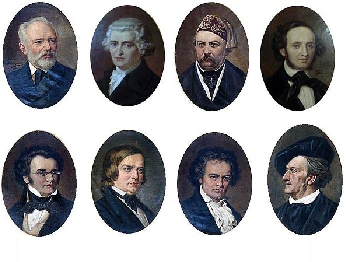 Портреты выдающихся композиторов в Большом зале Московской консерватории. Автор: Николай Бодаревский.