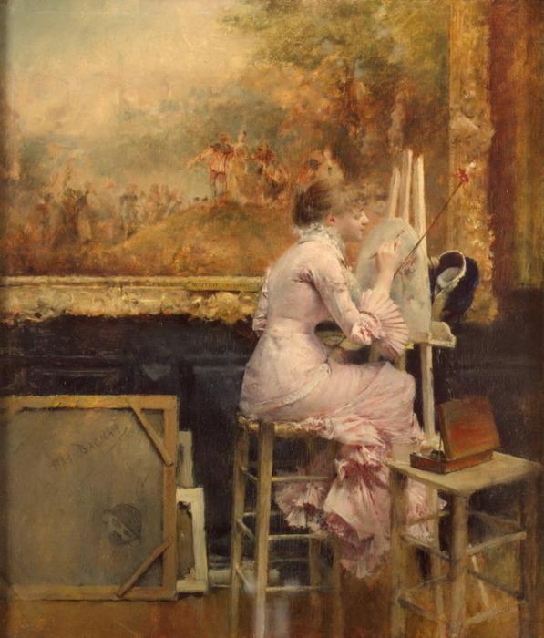 Художница за мольбертом. Автор: Паскаль Адольф Жан Даньян-Бувре