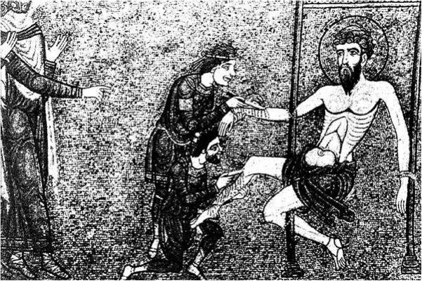 Сдирание кожи со святого Варфоломея. Мозаика собора Святого Марка в Венеции.
