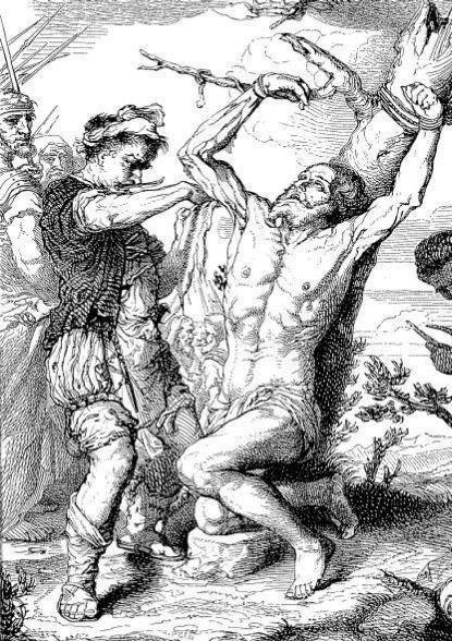 Сдирание кожи со святого Варфоломея. Гравюра с картины Риберы. XVI век. (Частная коллекция).