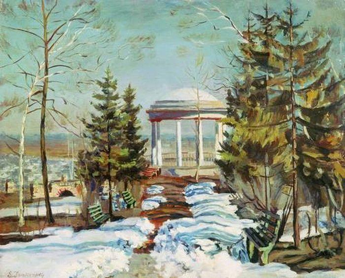 «Ранняя весна (Беседка в парке)». (1910). Автор: Жуковский С. Ю.