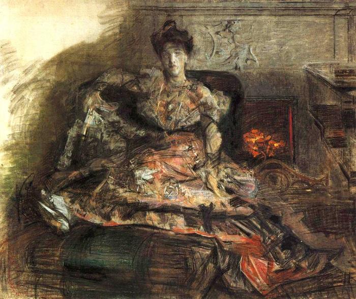 После концерта. Портрет Надежды Ивановны Забелы-Врубель у камина. 1905 год. Автор: Михаил Врубель.