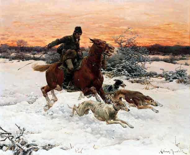 Охотник с гончими псами. Автор: Альфред Веруш-Ковальски.
