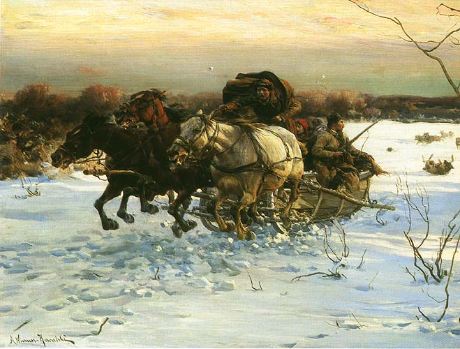 Тройка, преследуемая волками. Автор: Альфред Веруш-Ковальски.