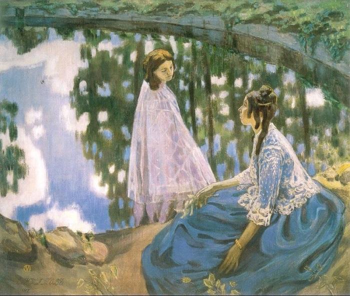 В.Э. Борисов-Мусатов. «Водоем». (1902 год.) 177 х 216 см. Государственная Третьяковская галерея. (В Русском музее находится её авторская версия под названием «У водоёма».)