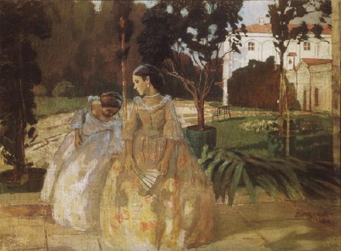 В.Э. Борисов-Мусатов. «Гобелен». (1901год). Холст, темпера. Государственная Третьяковская галерея.