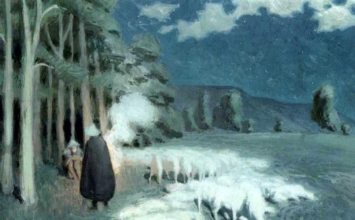 В.Э. Борисов-Мусатов. «Пастухи со стадом ночью». 1895 г.